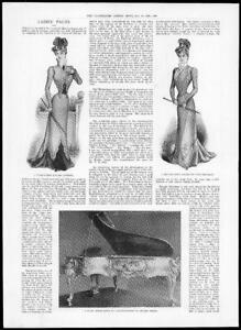 1899-Antique-Print-LADIES-FASHION-Autumn-Gown-Costume-Piano-Louis-XV-373