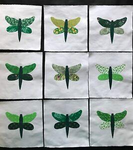 9 Cotton Fabric Quilt Top Blocks 6 Inch Square Trees /& Moose  Appliques