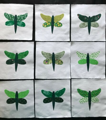 Lot of 9 Fabric Quilt Top Blocks 6 Inch Square Green Dragonfly Appliques
