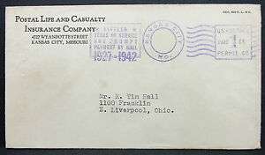 US-Adv-Cover-Kansas-City-Insurance-Payment-Paid-Stamp-1c-1942-USA-Letter-H-7129