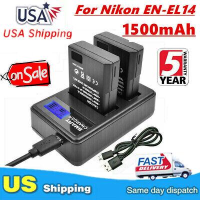 2x Bater/ía EN-EL14 para Nikon D3100 D5200 D5100 D3200 P7000 P7100 P7700