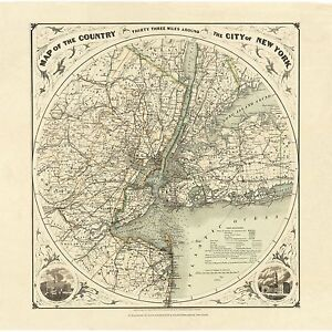 New York City 1893 Round Map Art Print Or Gallery Wrapped Canvas