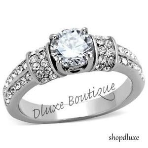 1-75-CT-ROUND-CUT-CZ-STAINLESS-STEEL-ENGAGEMENT-RING-BAND-WOMEN-039-S-SIZE-5-10
