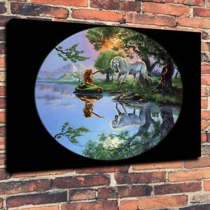 Canvas-Prints-Oil-Painting-A-Mermaid-and-Unicorn-Tree-Lake-Home-Decor-Unframed