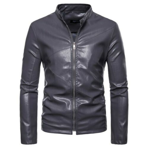 Men/'s Biker Stand collar Long sleeve Slim Fit Faux Leather Jacket Motorcycle L