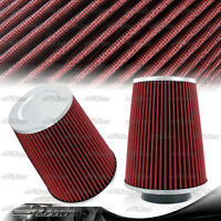 Universal Cotton Gauze 3.5 Inch 3.5 Inlet Round Flat Top Air Intake Filter Red