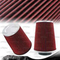 Universal Cotton Gauze 3.5 Inch 3.5 Inlet Round Flat Top Air Intake Filter Red