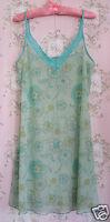 Rare Vtg 60s Sheer Floral Lace Petticoat Slip Dress Green Blue Yellow White