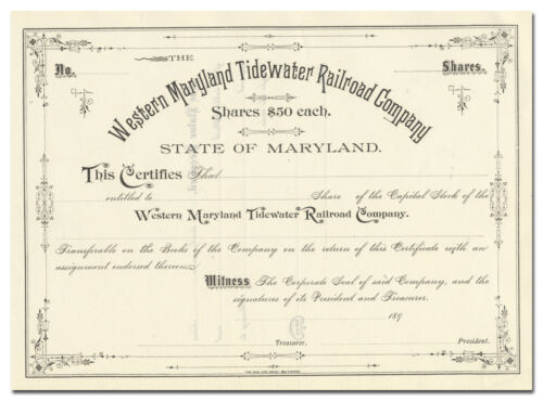 Western Maryland Tidewater Railroad Company Certificate