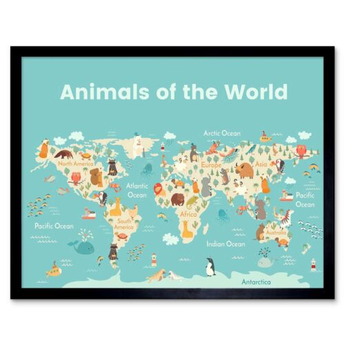 Animals Of The World Map 12X16 Inch Framed Art Print