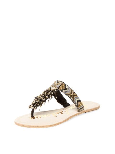12f7c5985215 SAM EDELMAN Anella Black Multi Beaded Thong Sandals Size 7 1 2 M NEW