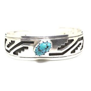 HOPI-Style-Sterling-Silver-Turquoise-Navajo-OVERLAY-Cuff-Bracelet-ROBERT-JOHNSON