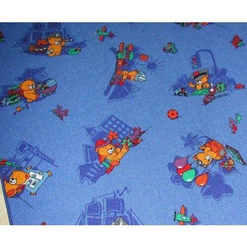 """Offre spéciale ours tapis /""""Funny ours en peluche bleu/"""" 200 cm de large NOUVEAU"""
