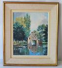Peinture Tableau Huile sur toile maison arborée au milieu de l'eau
