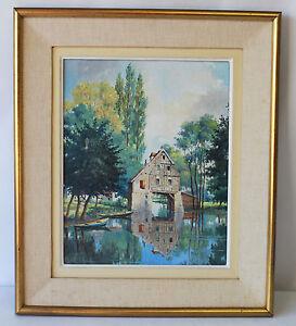 Peinture Tableau Huile sur toile maison arboré