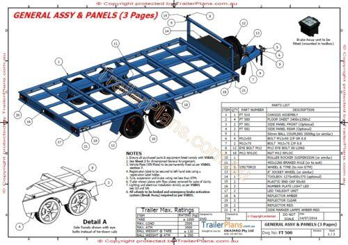 4.8m FLAT TOP TRAILER PLANS PRINTED HARDCOPY-Car Trailer,Flatbed Trailer Plans