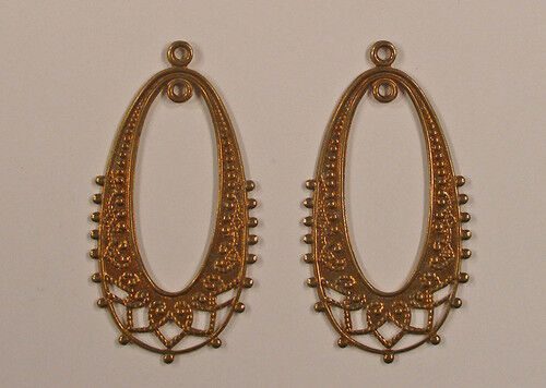 Earring Filligree Findings Antique Style Brass 1 pair High Quality