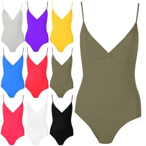 Womens Thin Strap Top Bodysuit Ladies Plain Strappy V Neck Deep Cut Slim Leotard