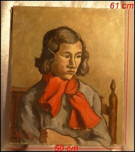 """DéTerminé """"jeune Fille à L'echarpe Rouge"""" Signé André Balouzet De Tigny 1896-1968 Huile DernièRe Technologie"""
