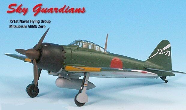 Zero A6m5 Ijn 721st Naval Aire Grupo de avión miniatura Modelo Metal Fundido 1 72