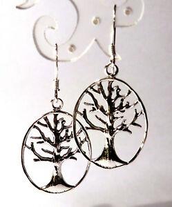 Tree-of-Life-Ohrringe-925-Sterling-Silber-Baum-des-Lebens-Ohrhaenger-Neu
