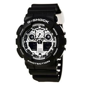 Casio-GA100BW-1A-Gent-039-s-G-Shock-Alarm-Black-Resin-Strap-Dive-Watch