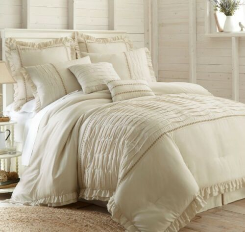 Country Ivory Off white Textured Bar Tacking Comforter 8 pcs Cal King Queen Set