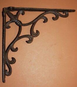 Details about Fleur De Lis Kitchen Decor Shelving Shelf Brackets Cast Iron,  10 inches B-72
