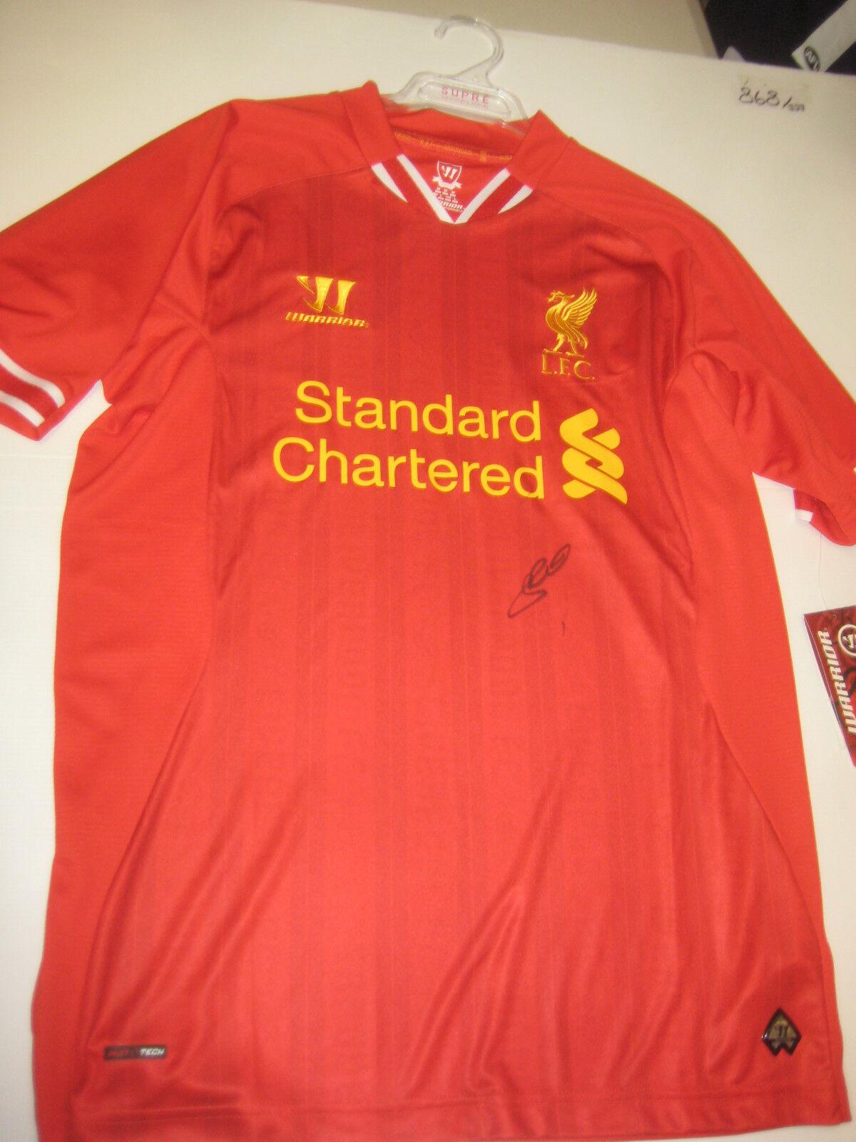 Liverpool-Steven Gerrard Firmado 2013-14 Camiseta + + prueba fotográfica C.o.a