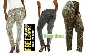c3e9f2f421a LP WOMENS PLUS SIZE Leopard CHEETAH PRINT STRETCH TWILL DENIM JEANS ...
