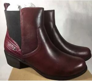 UGG-Australia-Keller-Croco-Chelsea-BOOTS-5-Burgundy-Leather-Shearling-Insole-NEW