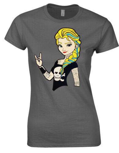 Punk Emo Elsa Alternative Frozen Rock Queen Ladies T-Shirt Top AH79