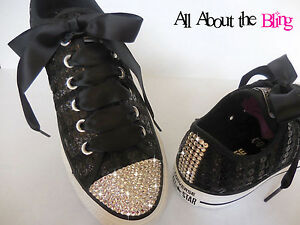 0ea6ef5aa608 Image is loading Converse-All-Star-Black-with-Swarovski-Crystals-rhinestone-