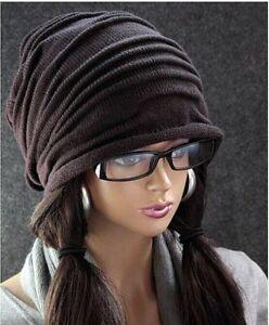 NEW Unisex Womens Mens Knit Baggy Beanie Hat Winter Warm Oversized Ski Cap MZ004