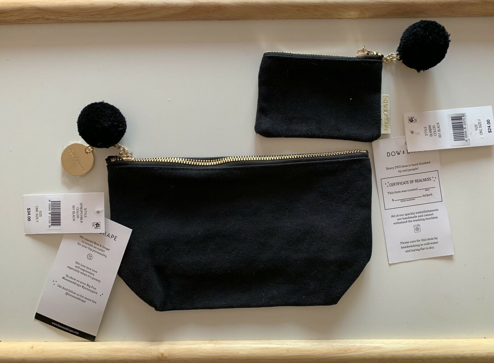 NWT, Bow & Drape black Cosmetic pouch bag and coin holder