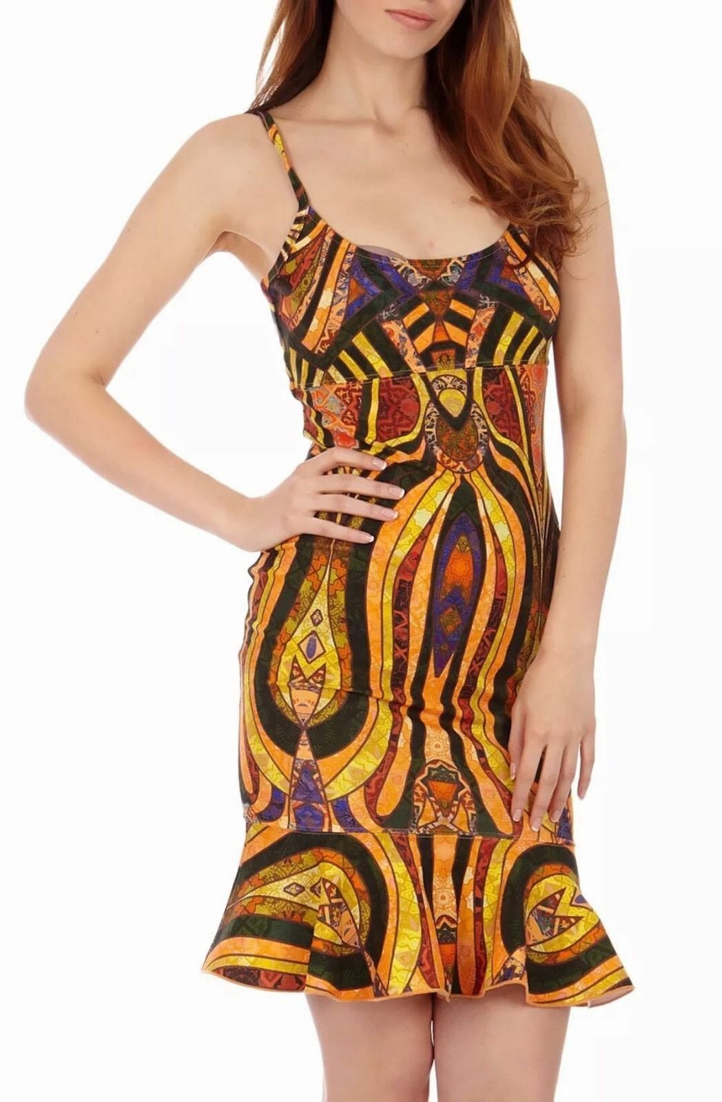 TORN BY RONNY KOBO Women's gold-Multi Printed Ruffled Party Dress Retail