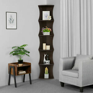 Set-of-2-Strong-Corner-Shelf-Wall-Shelves-5Tier-Storage-Rack-Stand-Home-Strong
