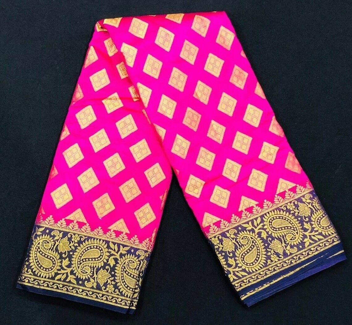 Bollywood Diwali Tusser Silk Saree South Indian Pink bluee gold Pooja Sari MS8