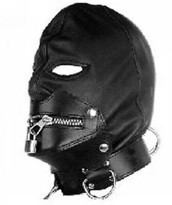 Zip Lock Mask Hood Leather Lock Collar Halloween 10 AAA