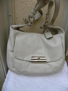 Image Is Loading Coach Large Kristin 16787 Off White Leather Shoulder