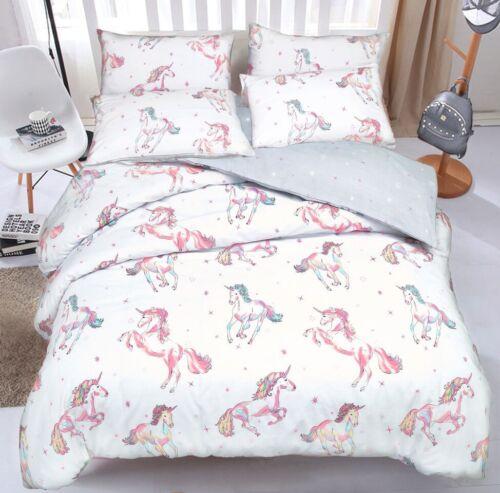 Unicorn Quilt Duvet Cover /& Pillowcase Bed Set Reversible Design In King Size