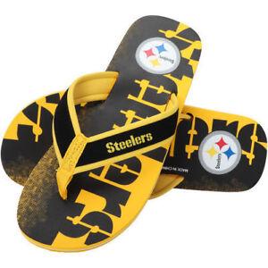 94df19fc776b28 NFL - Pittsburgh Steelers Contour Fade Wordmark Men s Flip Flops NEW ...