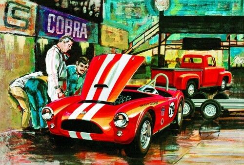 125 AMT 1073 Cobra Racing m Shelby Cobra &'53 Ford Pickup & Trailer Kit
