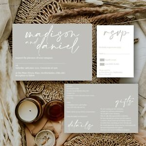 Personalised-WEDDING-INVITATIONS-Grey-Modern-Natural-Minimal-Block-Colour-PK-10