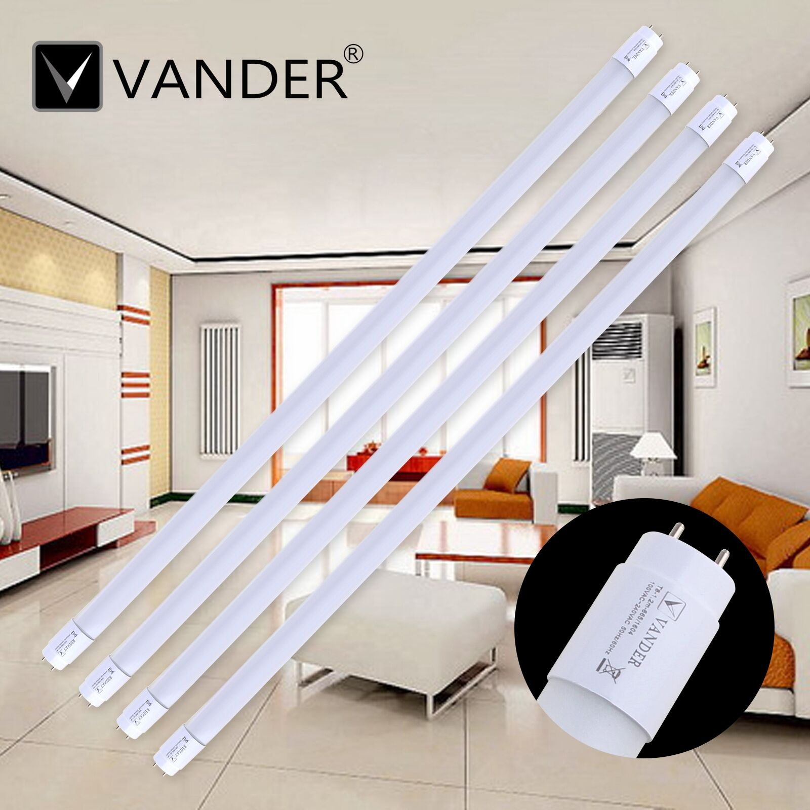 4pack 18w t8 led tube lamp 48 inch 4ft fixture. Black Bedroom Furniture Sets. Home Design Ideas