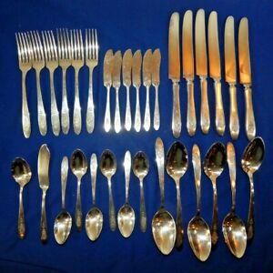 1923 Paradiesvogel Menge 32 Stück Gemeinschaft Silber Teller Löffel Gabel Butter