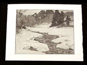 Vintage-Greeting-Card-Winter-Scene-Original-Print-Albert-R-Thayer-1930-NOS