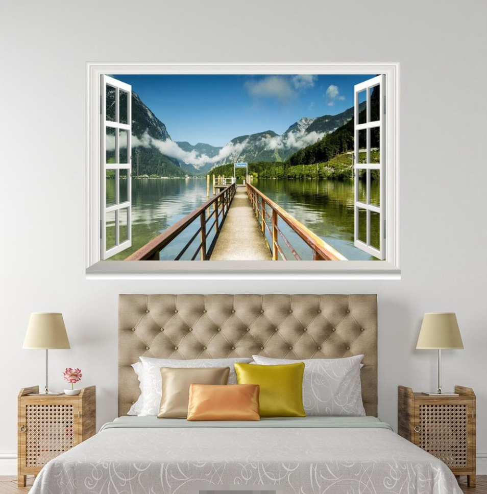 3D Bridge River 0012 Open Windows WallPaper Murals Wall Print AJ Jenny