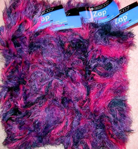 EP Berroco Zap Soft Eyelash Fur Knitting Crochet Yarn 3463 Purple//Pink Lot of 4