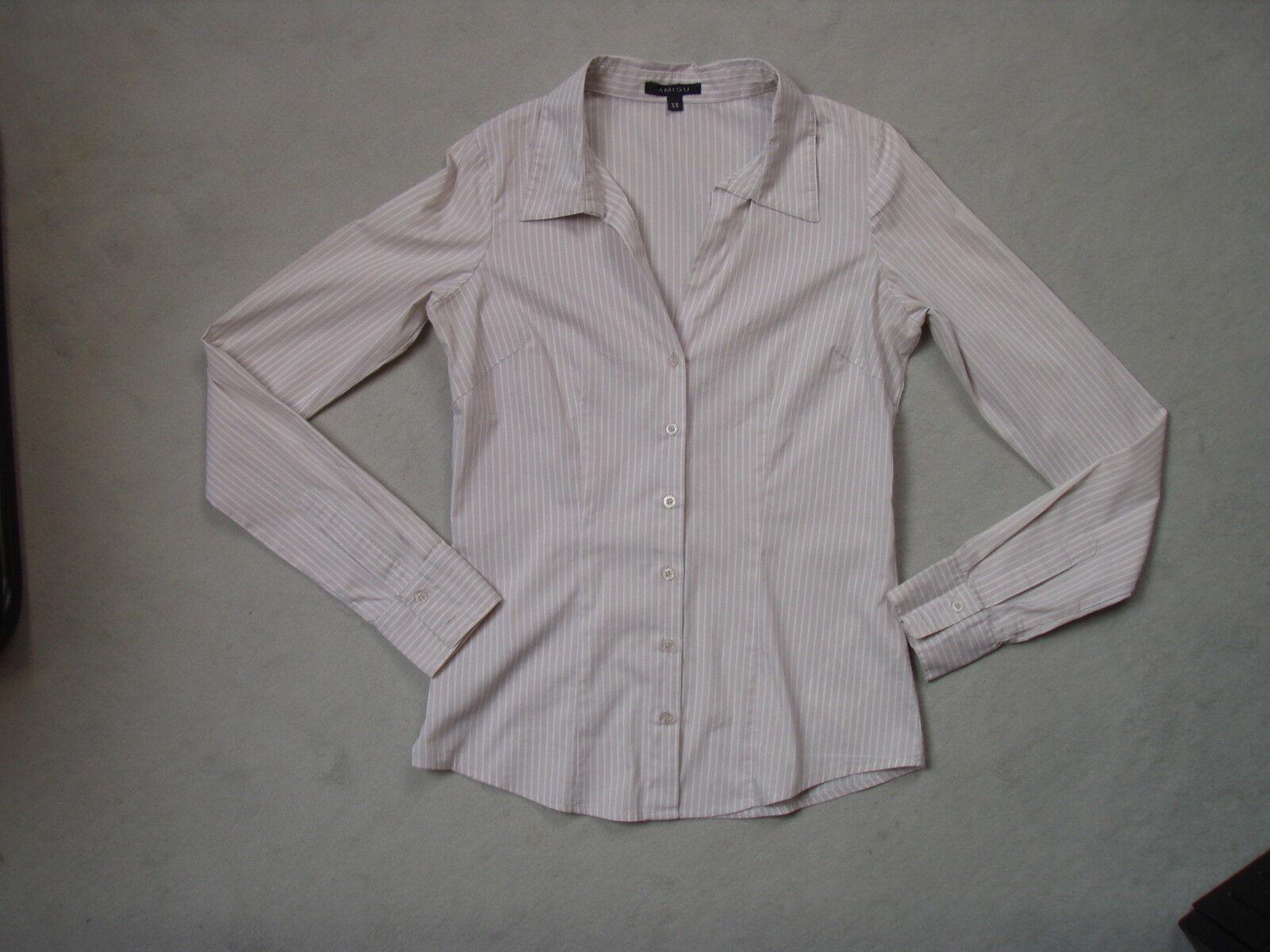 AMISU - Damen Langarm Bluse - Gr. XS bzw. 34 -  mit weiß